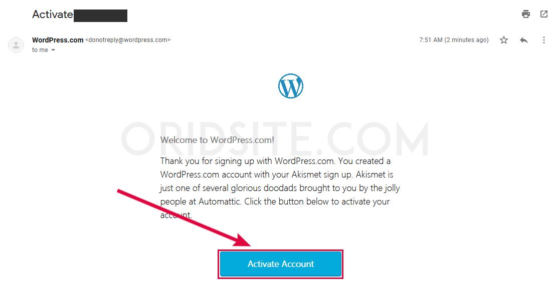رسالة تفعيل حساب WordPress.com