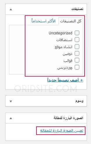 تحديد التصنيف و تعيين الصورة البارزة للمقالة - طريقة انشاء موقع الكتروني