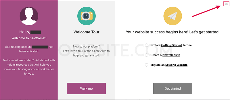 نافذة ترحيبية على فاست كوميت - كيفية انشاء مدونة