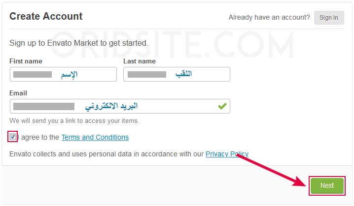 انشاء حساب في Envato Market