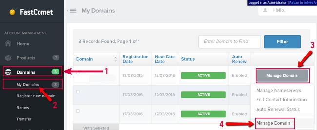 تغيير DNS الدومين في موقع FastComet