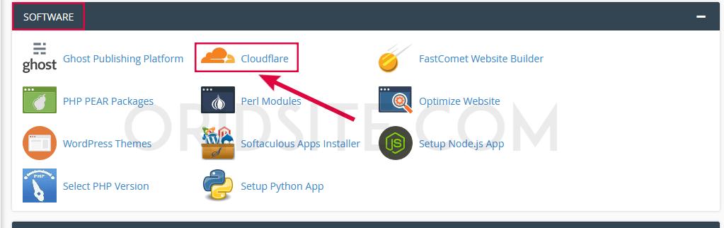 البحث عن أيقونة Cloudflare في لوحة تحكم cPanel