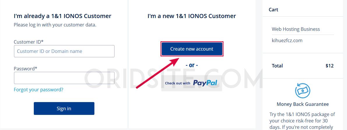إنشاء حساب في موقع 1&1 IONOS