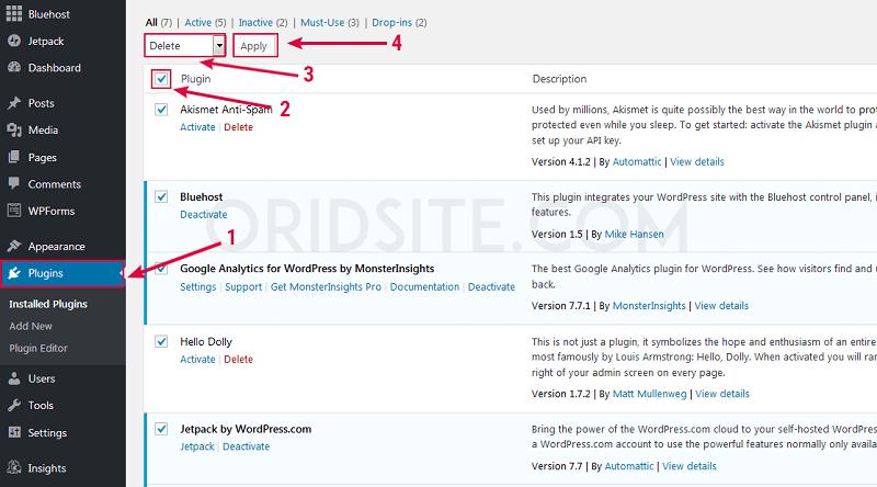 حذف الإضافات المثبة على ووردبريس