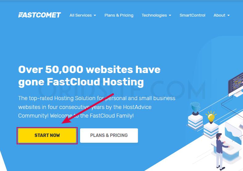 الصفحة الرئيسية لموقع Fastcomet