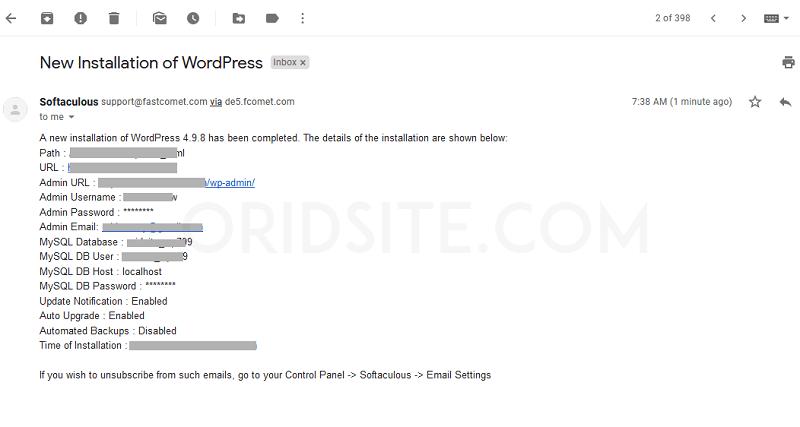 بريد الكتروني لبيانات تثبيت ووردبريس
