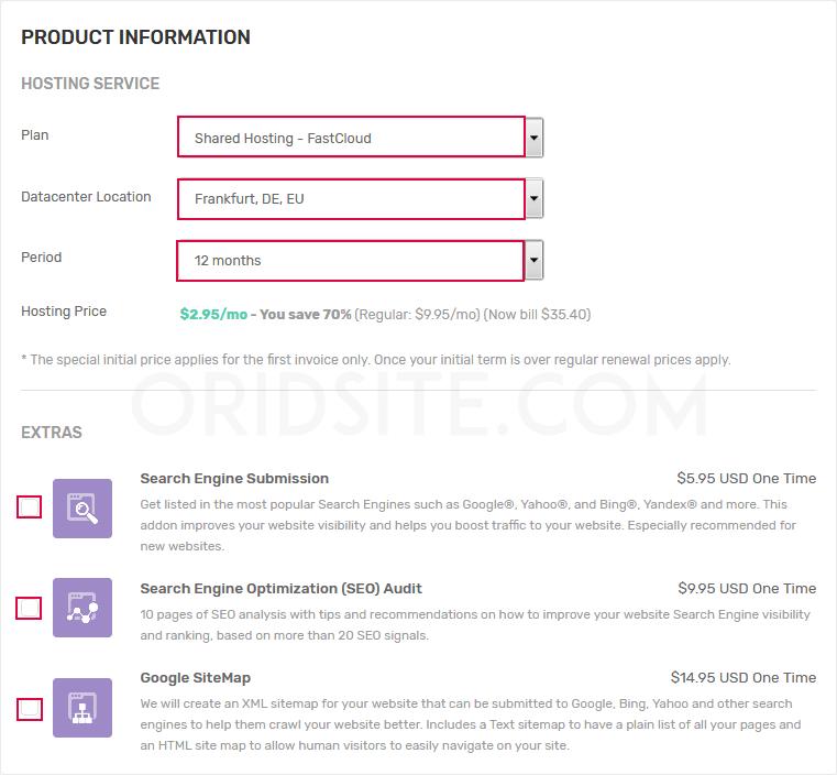 خيارات المنتجات استضافة fastcomet - انشاء مدونة ووردبريس