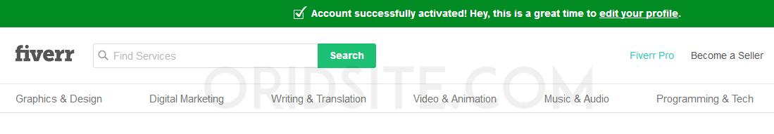 تفعيل حساب Fiverr بنجاح - موقع شراء لوجو