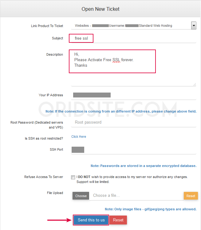 التواصل مع الدعم InterServer بخصوص شهادة SSL المجانية