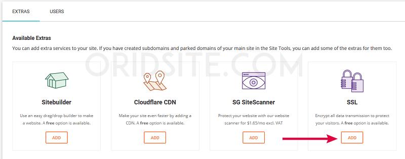 اضافة شهادة SSL مجانية إلى استضافة SiteGround