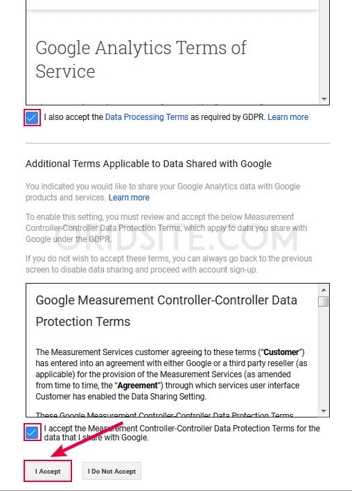 الموافقة على شروط خدمة Google Analytics