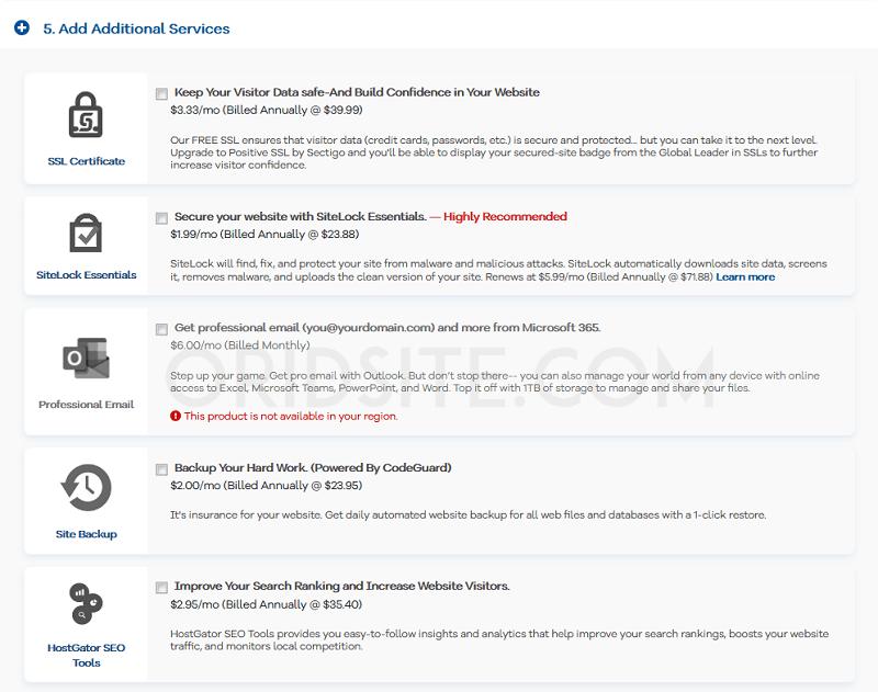 الخدمات الإضافية التي تقترحها hostgator- شرح hostgator