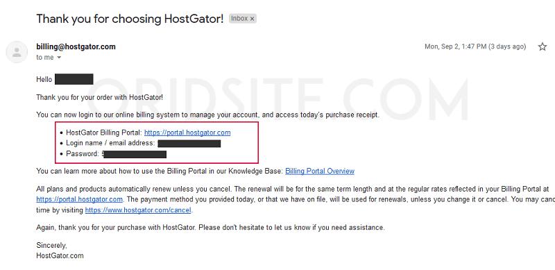 رسالة بيانات الدخول إلى حسابك في هوست جيتور