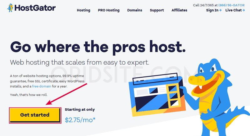 الصفحة الرئيسية لموقع HostGator