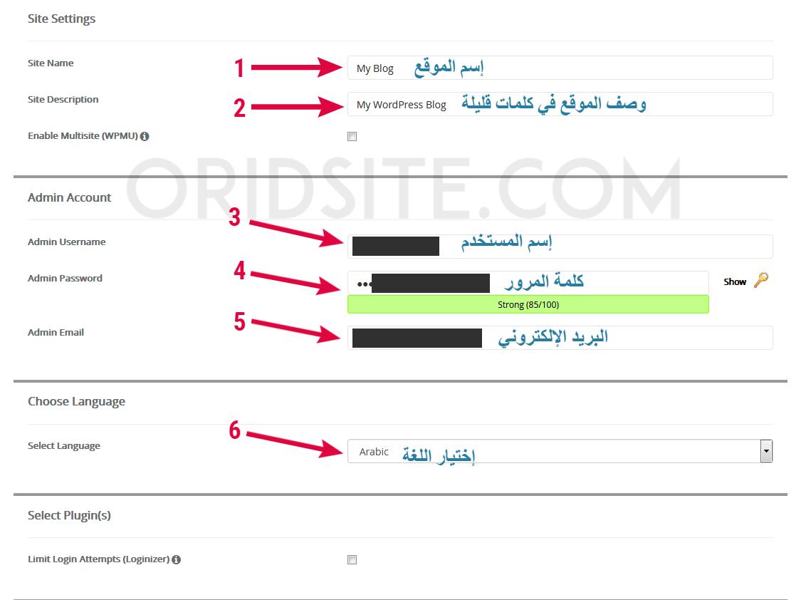 إعدادات الموقع, و حساب الأدمن و لغة ووردبريس للتثبيت