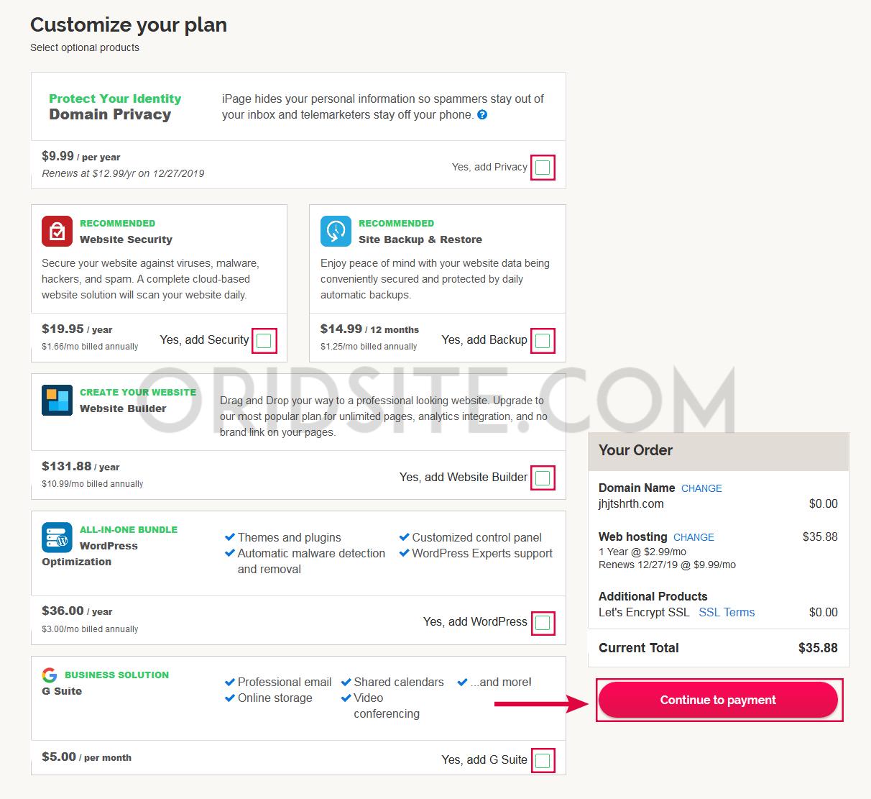 التعديل في خدمات الإستضافة التي تبيعها استضافة iPage