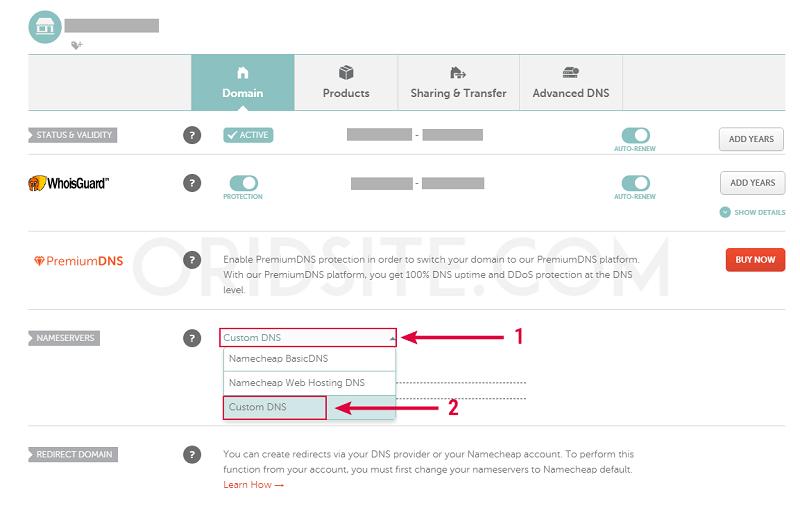 إعدادات DNS على حساب Namecheap