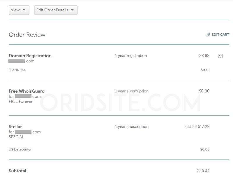 السعر الاجمالي لشراء استضافة Namecheap