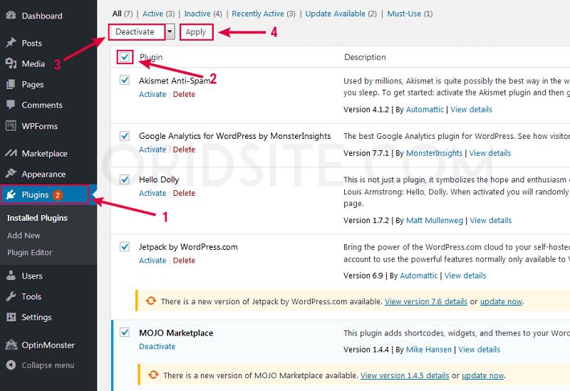 تعطيل جميع اضافات ووردبريس المثبتتة - عمل صفحة ويب